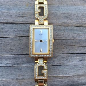 Guess Gold G link woman's watch w/ crystals